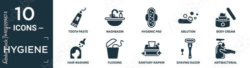 Fotografia, Obraz filled hygiene icon set