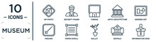 Museum Linear Icon Set. Includes Thin Line No Photo, Cinema, Modern Art, Paper Scroll, Buffalo, Information Desk, Fencing Icons For Report, Presentation, Diagram, Web Design