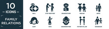 Filled Family Relations Icon Set. Contain Flat Null, Step-brother, Grandfather, Sibling, Niece, Aunt, Wife, Grandmother, Father-in-law, Grandson Icons In Editable Format..