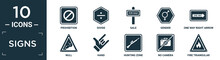 Filled Signs Icon Set. Contain Flat Prohibition, Divide, Sale, Gender, One Way Right Arrow, Null, Hand, Hunting Zone, No Camera, Fire Triangular Icons In Editable Format..