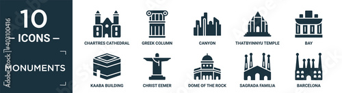 Obraz filled monuments icon set. contain flat chartres cathedral, greek column, canyon, thatbyinnyu temple, bay, kaaba building, christ eemer, dome of the rock, sagrada familia building, barcelona icons. - fototapety do salonu