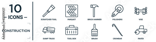 Obraz construction linear icon set. includes thin line scratcher tool, brick hammer, vise, tool box, crowbar, paver, dump truck icons for report, presentation, diagram, web design - fototapety do salonu