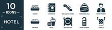 Filled Hotel Icon Set. Contain Flat Onigiri, Cookbook, Escalator Down, Cinnamon Roll, Receptionist, Dim Sum, Meal, Restaurant, Door Hanger, Towels Icons In Editable Format..