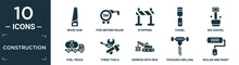 Filled Construction Icon Set. Contain Flat Wood Saw, Five Meters Ruler, Stopping, Chisel, Big Shovel, Fuel Truck, Three Tools, Derrick With Box, Pickaxes Drilling, Roller And Paint Icons In Editable.