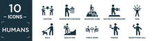 Filled Humans Icon Set. Contain Flat Fighting, Worker With Notepad, Mountain Climb, Nature Photographer, Pain, Walk, Man In Hike, Public Work, Feeding, Smartphone Call Icons In Editable Format..