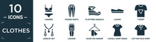 Filled Clothes Icon Set. Contain Flat Lingerie, Pegged Pants, Platform Sandals, Loafer, T-shirt, Jewelry Set, Leggins, Scarf On Hanger, Lyocell Shirt Dress, Cotton Polo Shirt Icons In Editable.