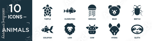 Canvas filled animals icon set