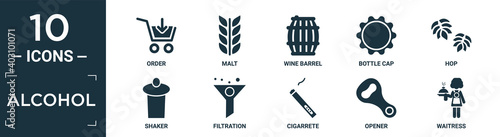 Fotomural filled alcohol icon set