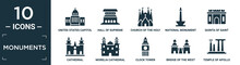 Filled Monuments Icon Set. Contain Flat United States Capitol, Hall Of Supreme Harmony In Beijing, Church Of The Holy Family, National Monument Monas, Quinta Of Saint Peter Alexandria, Cathedral,.