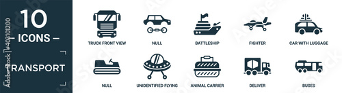 Foto filled transport icon set