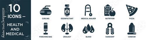 Canvas filled health and medical icon set