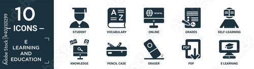 Fotografia filled e learning and education icon set
