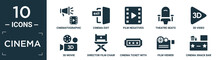 Filled Cinema Icon Set. Contain Flat Cinematographic Announcer, Cinema Exit, Film Negatives, Theatre Seats, 3d Video, 3d Movie, Director Film Chair, Cinema Ticket With A Star, Film Viewer, Snack Bar.