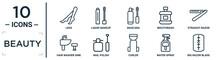 Beauty Linear Icon Set. Includes Thin Line Legs, Mascara, Straight Razor, Nail Polish, Water Spray, Big Razor Blade, Hair Washer Sink Icons For Report, Presentation, Diagram, Web Design