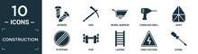 Filled Construction Icon Set. Contain Flat Screws, Hoe, Wheel Barrow, Cordless Drill, Joist, Stopping, Vise, Ladder, High Voltage, Chisel Icons In Editable Format..
