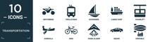 Filled Transportation Icon Set. Contain Flat Motorbike, Trolleybus, Schooner, Cargo Ship, Chairlift, Gondola, Bike, Hang Glider, Sedan, Dirigible Icons In Editable Format..