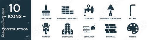 Canvastavla filled construction icon set