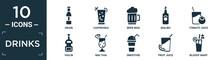 Filled Drinks Icon Set. Contain Flat Grain, Caipiroska, Beer Mug, Malibu, Tomato Juice, Violin, Mai Thai, Smoothie, Fruit Juice, Bloody Mary Icons In Editable Format..