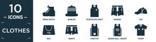Filled Clothes Icon Set. Contain Flat Brisk Boots, Bowler, Sleeveless Shirt, Boxers, Cap, Bag, Briefs, Tanktop, Basketball Jersey, Tshirt Icons In Editable Format..
