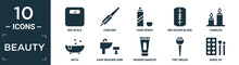 Filled Beauty Icon Set. Contain Flat Big Scale, Curlers, Hair Spray, Big Razor Blade, Candles, Bath, Hair Washer Sink, Women Makeup, Tint Brush, Make Up Icons In Editable Format..