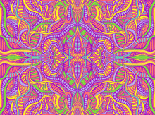 Rainbow Summer Psychedelic Hippie Style Abstract Fantastic Mandala Colorful Background With Many Crazy Geometric Pattern.