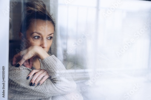 Canvas Print A melancholy and sad woman
