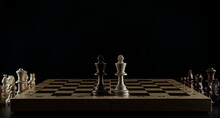 Two Chess Kings Are On Black Background
