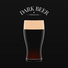 Dark Beer Logo. Glass Of Beer On Black Background