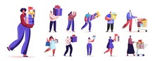 Set Of People Carry Wrapped Gift Boxes. Male And Female Characters Prepare For Christmas. Men And Women Buying Presents