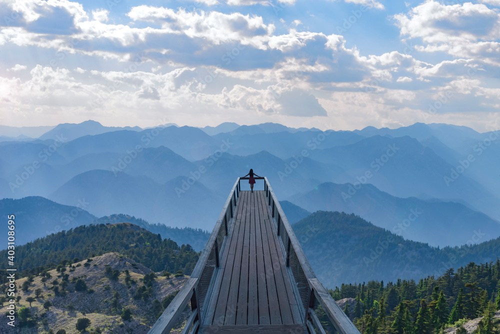 Fototapeta Watching the magnificent and enchanting mountain ranges from the top viewing terrace