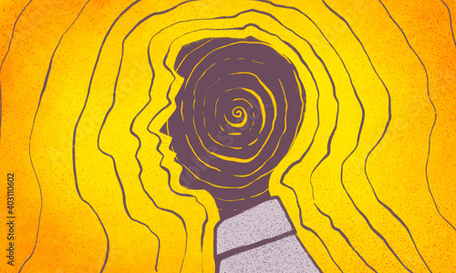 Obraz illustration of a person's profile, his thoughts and energy of thoughts, energy of character, law of attraction of thoughts, radiation of mood - fototapety do salonu
