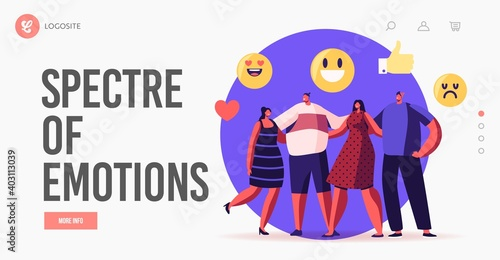 Obraz Empathy, Hugs with Friends Landing Page Template. Characters Stand in Row Hugging Each Other, Smiling and Laughing - fototapety do salonu
