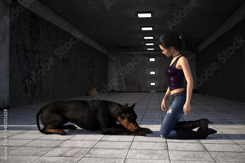 Fotografering Illustration of a young woman with her pet dog in the early morning light at the entrance of a subway
