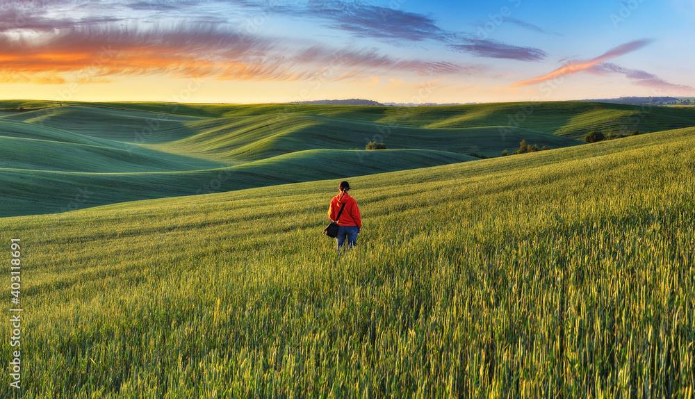 Obraz Tourist enjoys the rural landscape. Hills and farmland fototapeta, plakat