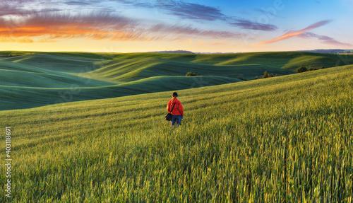 Fototapeta Tourist enjoys the rural landscape. Hills and farmland obraz