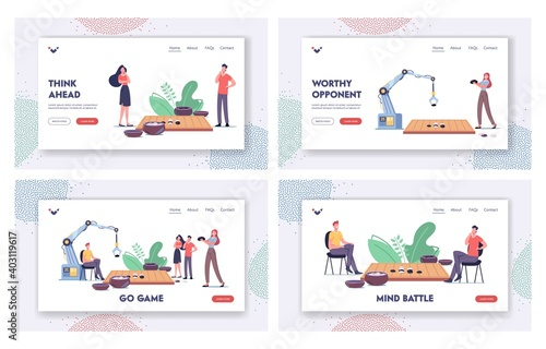 Obraz Strategy Game Landing Page Template Set. Characters and Robot Playing Gobang or Go Game Board with Course and Bowls - fototapety do salonu
