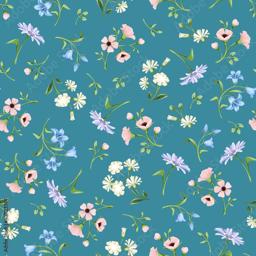 Fototapeta Vector seamless floral pattern with small pink, blue, white and purple flowers on a celadon background