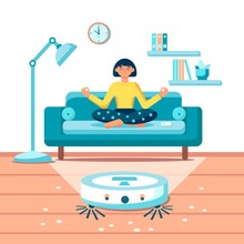 Young Woman Relaxing, Sitting On Sofa Robot Vacuum Cleaner The Room. Modern Wireless Equipment For Cleaning The Apartment. Housework And Technology Concept. Design For Web, Banner, Landing Page