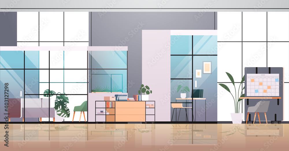 Fototapeta empty coworking center modern office room interior creative open space with furniture horizontal vector illustration