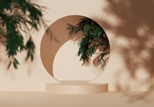 3D Podium Display With Tree On Beige Background. Green Nature Leaf With Shadow. Round Nude Pedestal Stand For Beauty, Cosmetic, Product Promotion. Exotic Summer,  Abstract 3D Render, Circle Copy Space