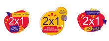 Set Of Sale Labels Illustration Of A Set Of Arrows Illustration Of A Label Special Offer 2x1 Sale Quality Badges. Round Hundred Percent Assured Label Badge. Sticker Vector Illustration Icons