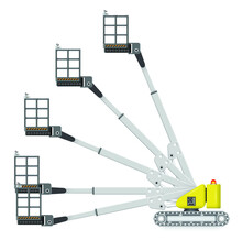 Straight Or Telescopic Boom Lift Vector. Separate Layer Of Angle. Aerial Work Platform Or Elevator With Boom, Bucket, Hydraulic. For Transport, Maintenance, Construction And Service At Height Level.