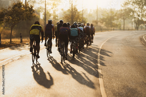 Obraz Cycling group training in the morning - fototapety do salonu