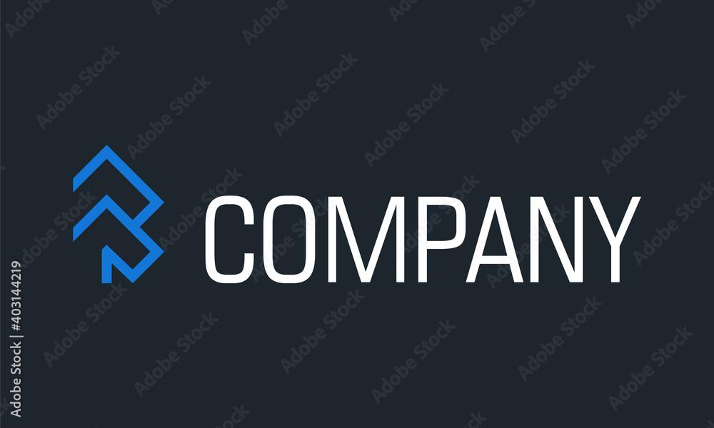 Fototapeta Blue Color Creative Simple Arrow Up Logo Design