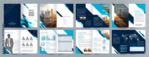 Canvas-taulu Corporate business presentation guide brochure template, Annual report, 16 page minimalist flat geometric business brochure design template, A4 size