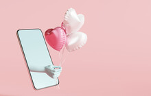 Hand Sent Heart Balloons On Pastel Pink Background. Valentine Concept. 3d Rendering