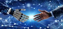 人間と握手するロボット 科学技術イメージ