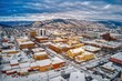 canvas print picture - Aerial View of Rapid City, South Dakota with fresh Snow
