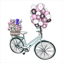 Vector Illustration Of A Bicycle With Balloons And Flowers. Holiday Transport Element, Blank For Designers, Logo, Icon, Vintage Magnolia, Orchid, Lily
