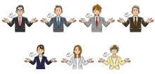 両手を広げてため息をつくビジネスマンとビジネスウーマンの上半身のセット